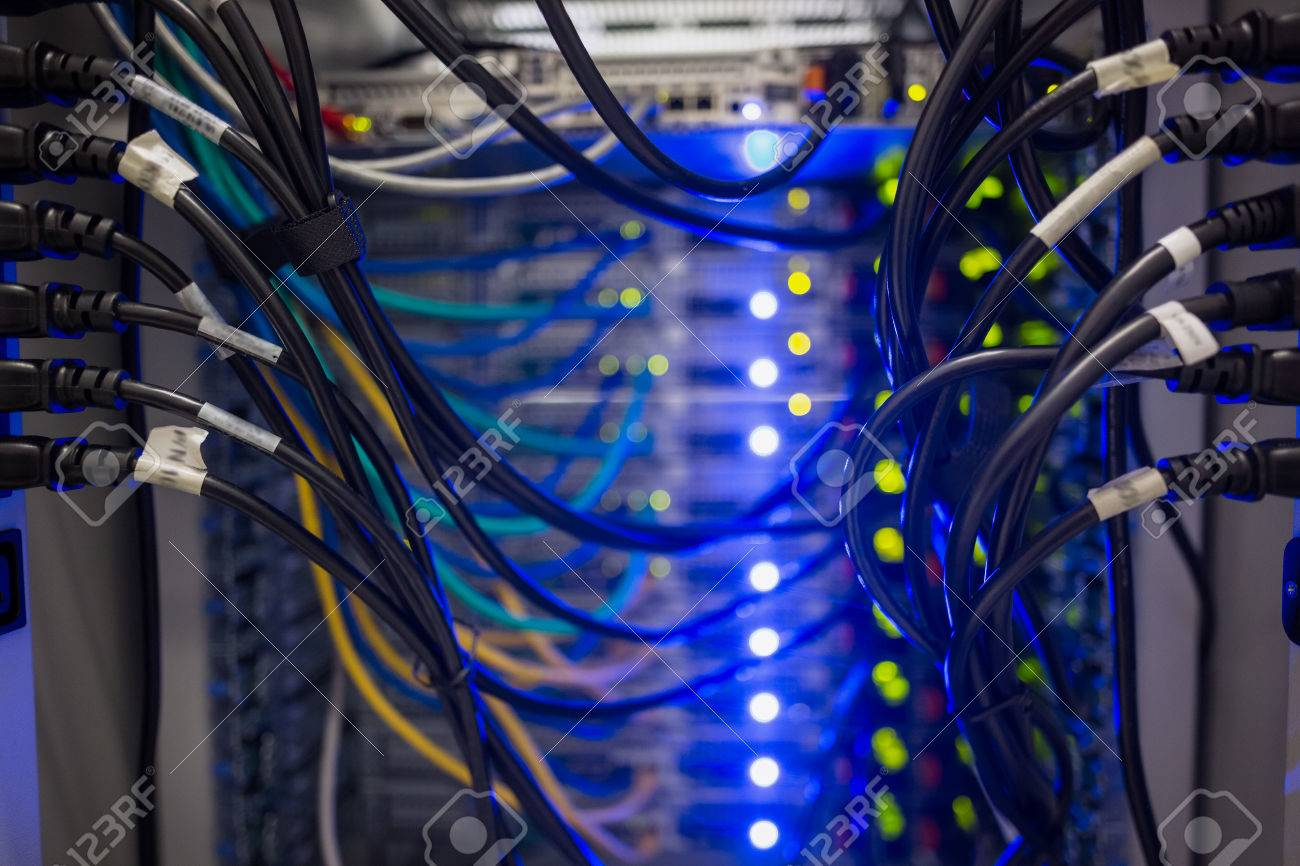 Interior Of Server With Wires Blue Close Up In Data Center Stock Wiring Photo 31884360