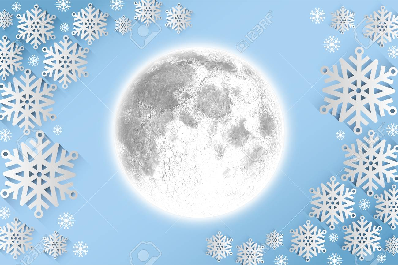 full moon against snow flake frame design on blue stock photo