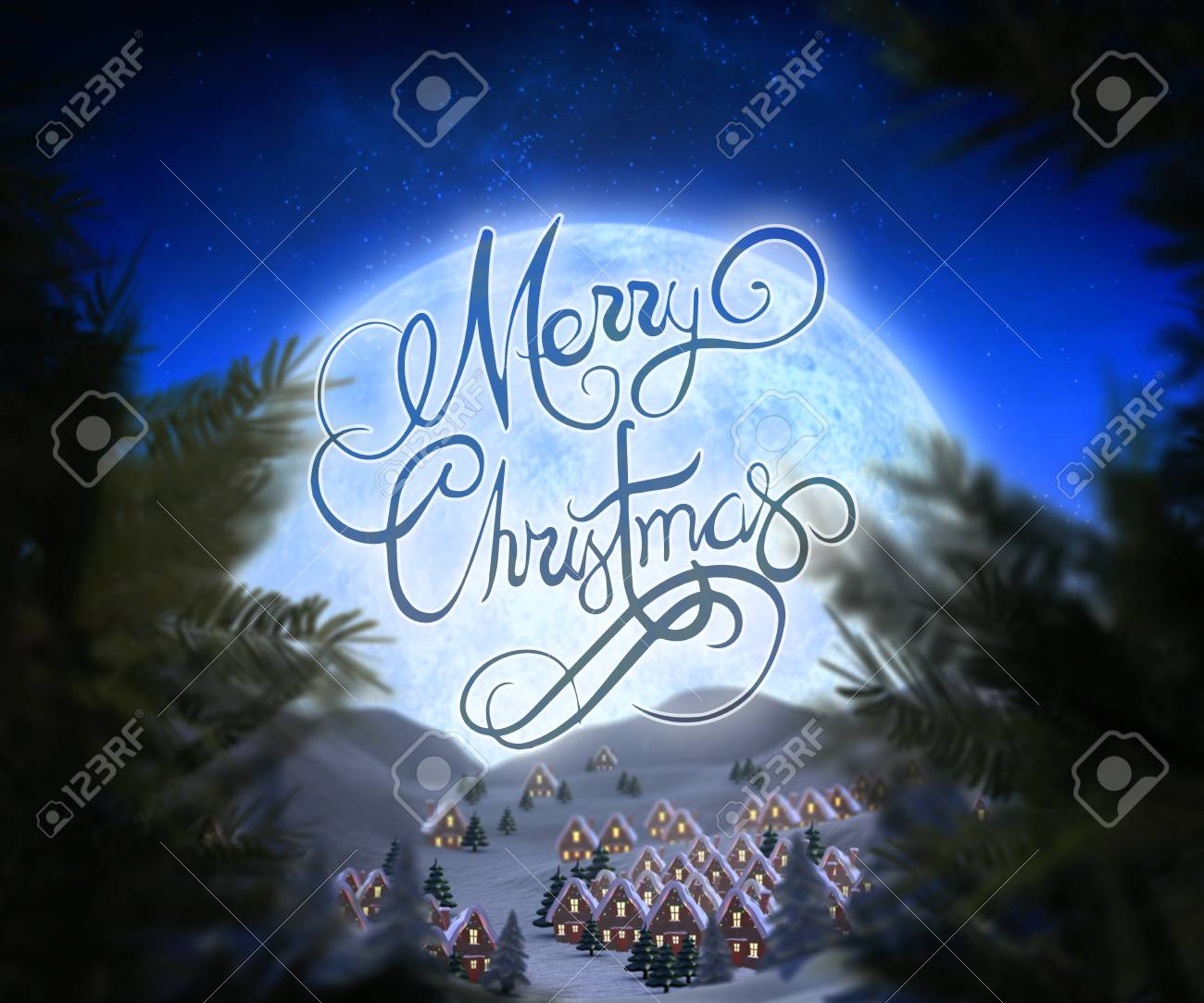 Merry Christmas Message Against Christmas Village Under Full Moon ...