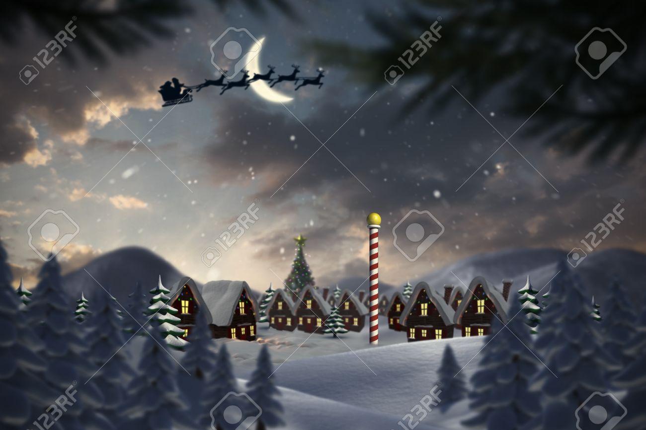 Silhouette Of Santa Claus And Reindeer Against Cute Christmas ...