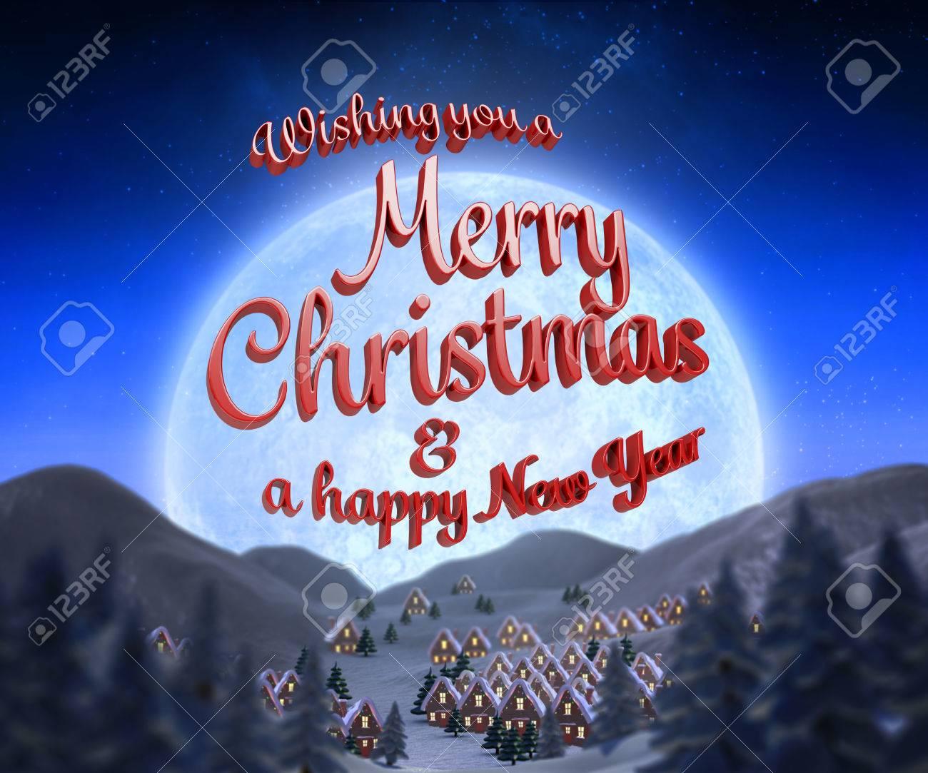 Frohe Weihnachten Nachricht Vor Weihnachten Dorf Unter Vollmond ...