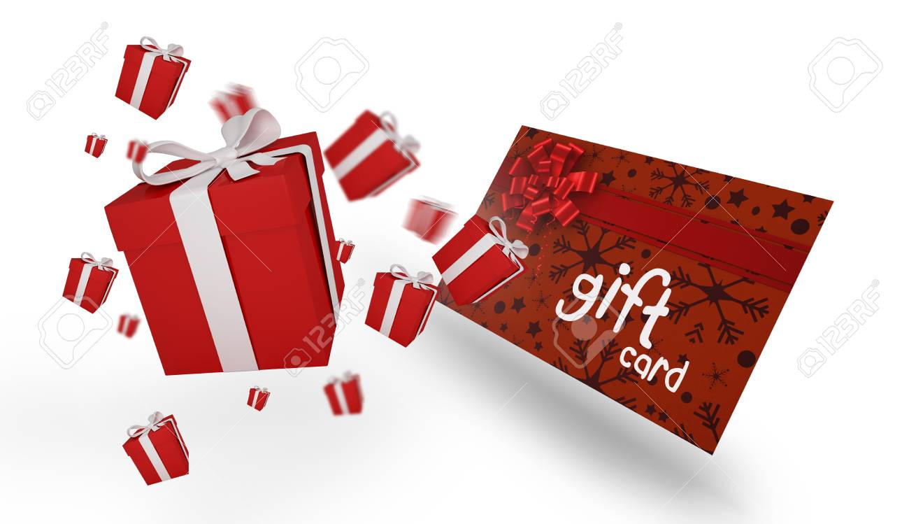 Flying Christmas Presents Against Gift Card With Festive Bow Stock ...