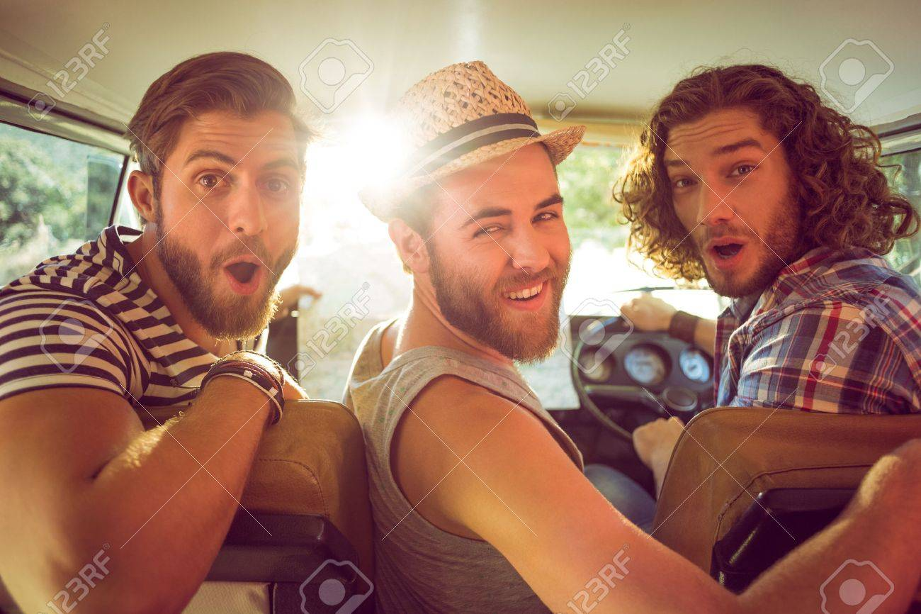 Hipster friends on road trip on a summers day - 36406586