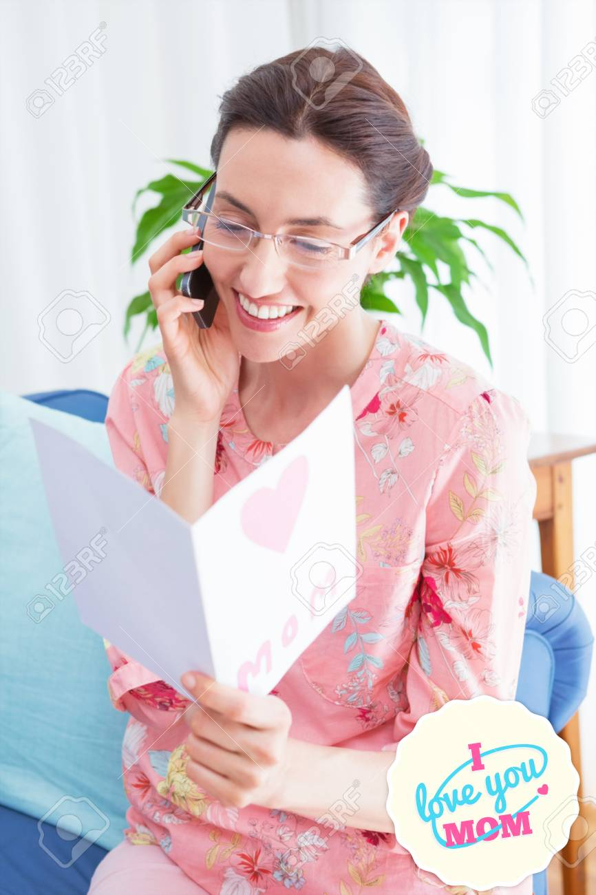 Mothers day greeting against mother reading a lovely card on stock mothers day greeting against mother reading a lovely card on phone call stock photo 38518372 m4hsunfo