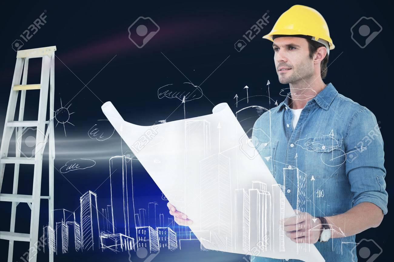 rchitect Holding Blueprint In House gainst Sunrise Sky Stock ... - ^