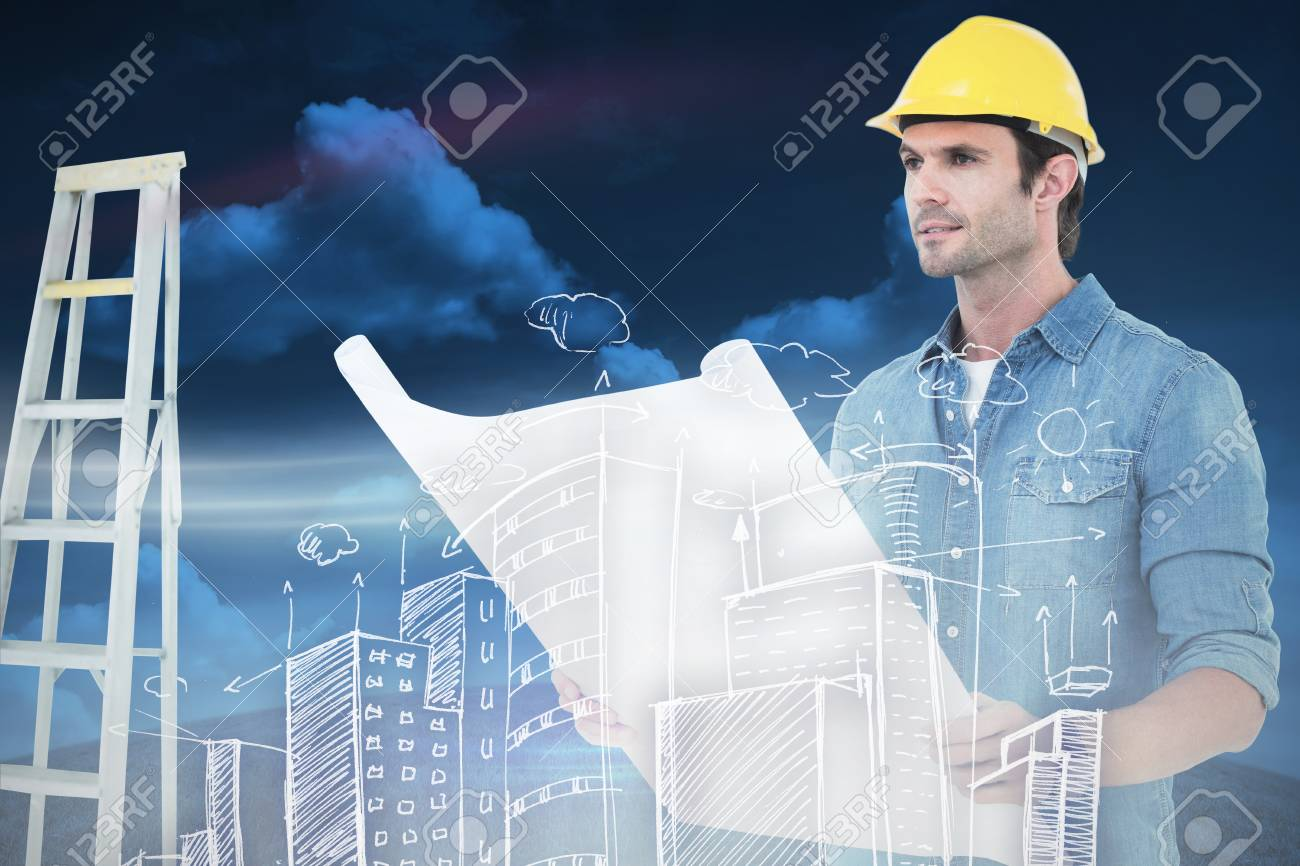Architect holding blueprint in house against green field under architect holding blueprint in house against green field under blue sky stock photo 38519565 malvernweather
