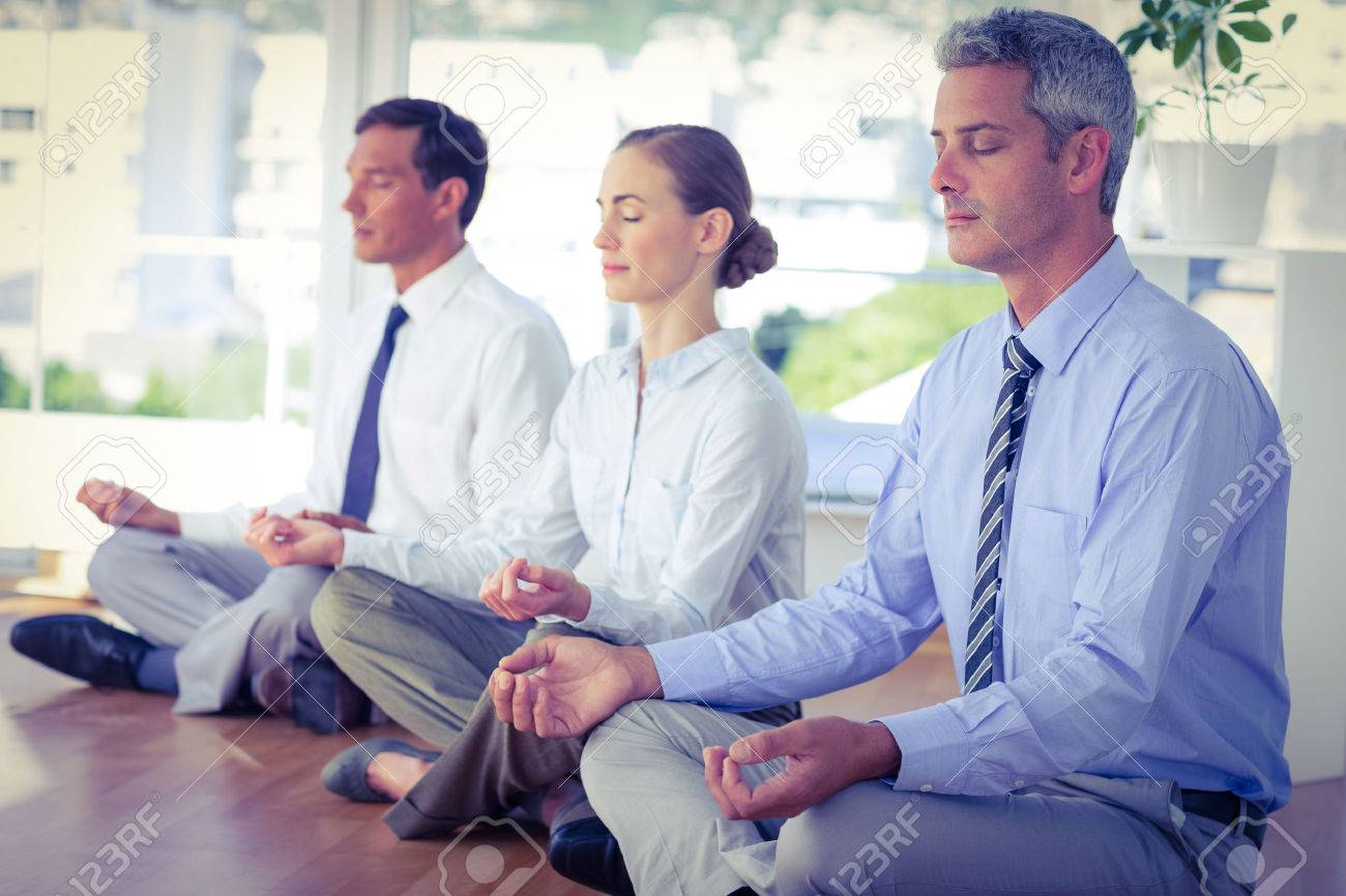 meditation office. business people doing yoga on floor in office stock photo 44784882 meditation r