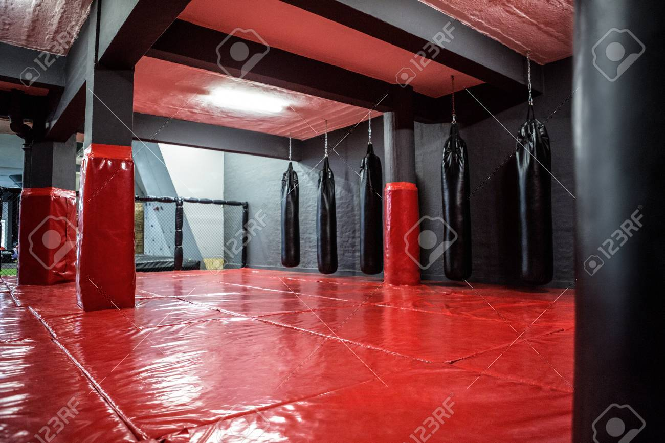 Red Boxing Area With Punching Bags In Crossfit Gym Stock Photo   42337067