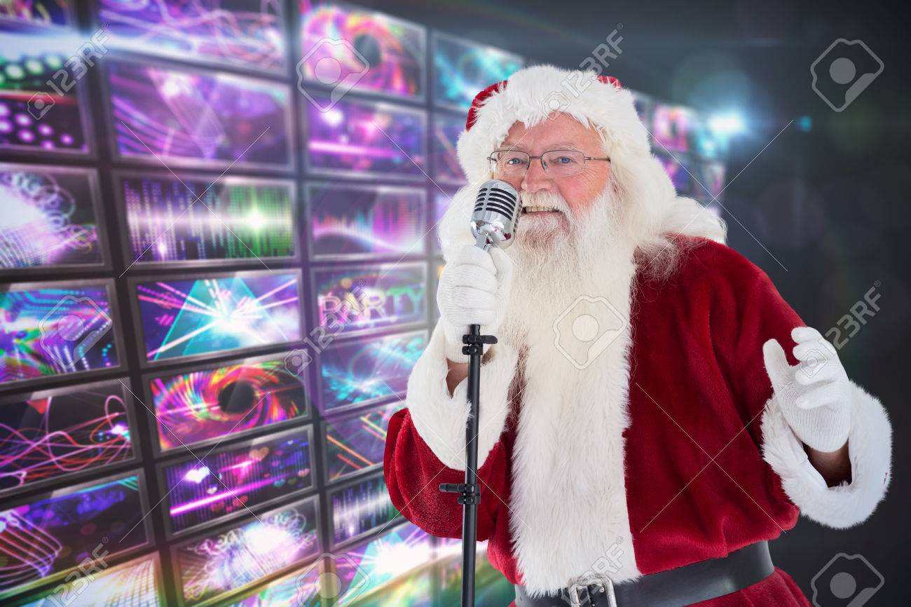 Santa Claus Is Singing Christmas Songs Against Screen Collage ...