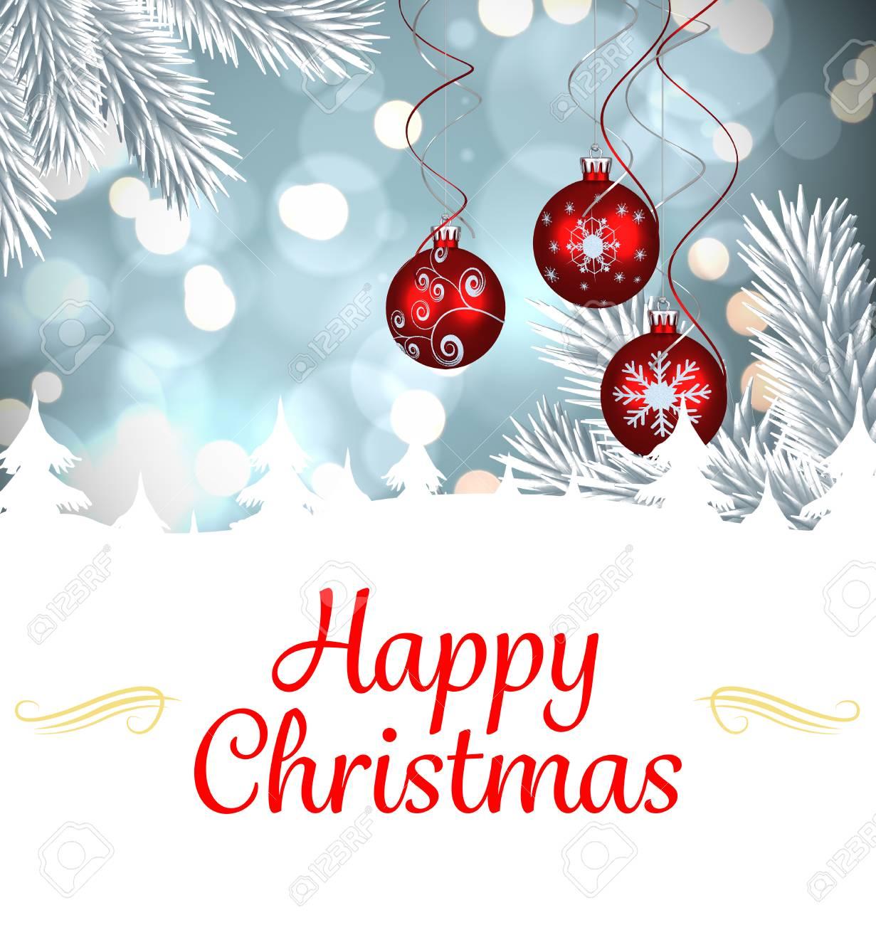 Image Composite De Carte De Noël Contre La Décoration De Boule De