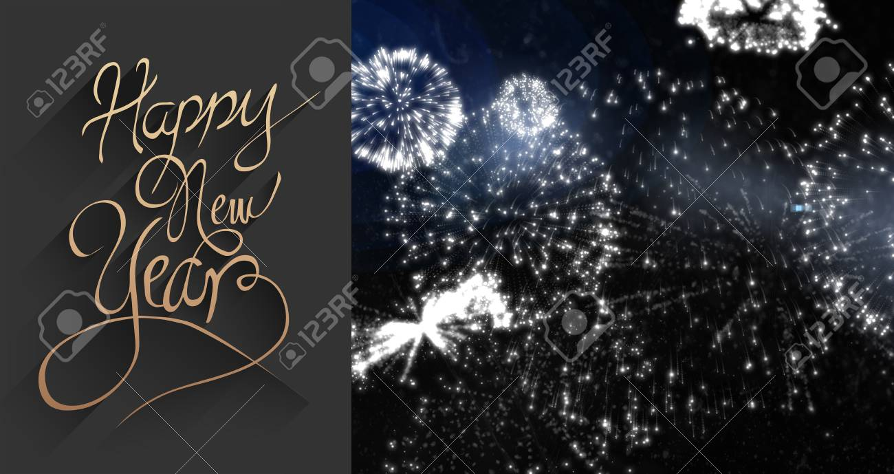classy new year greeting against white fireworks exploding on black background stock photo 46027677
