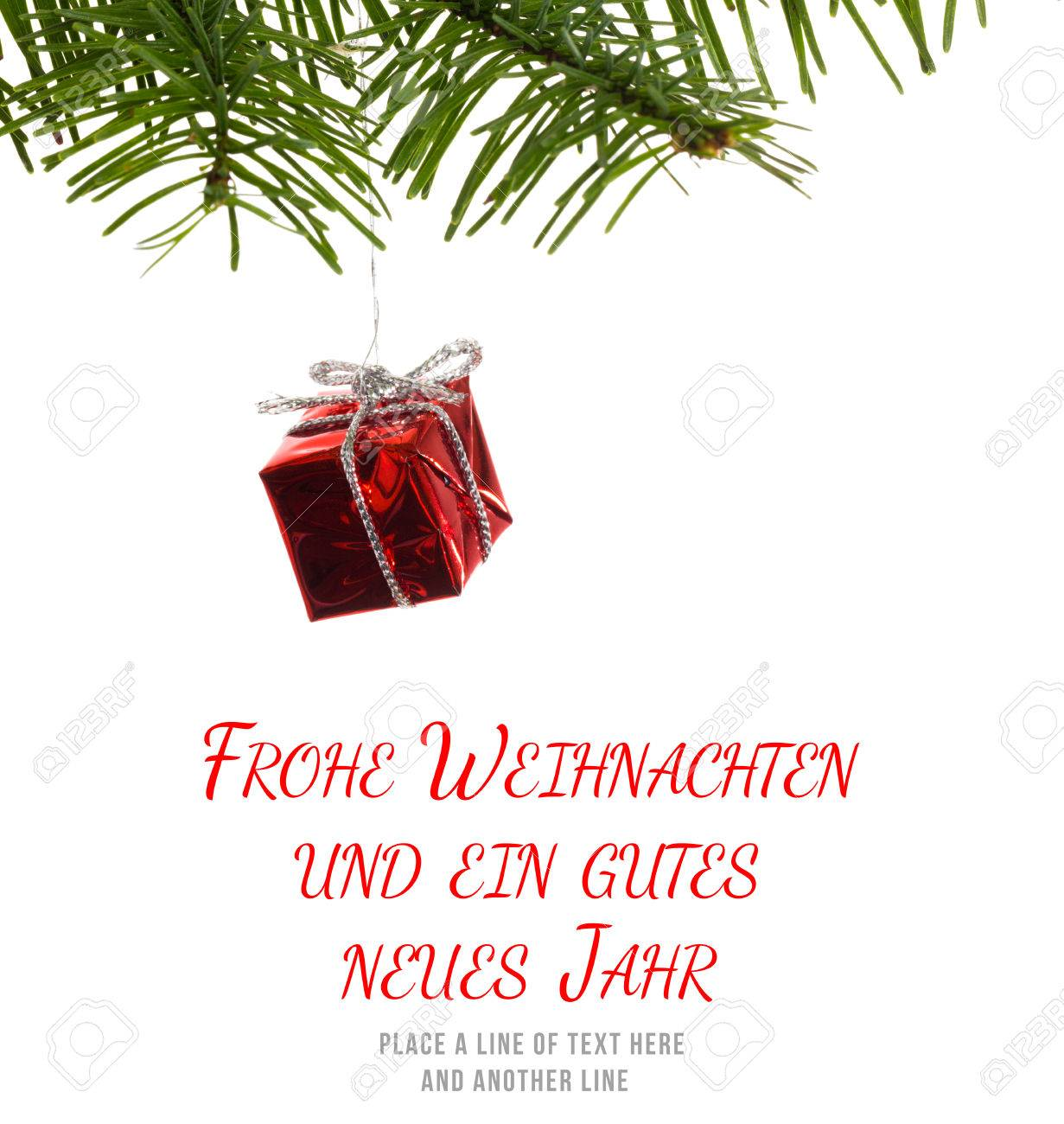 Frohe Weihnachten Message Against Red Christmas Decoration Hanging ...