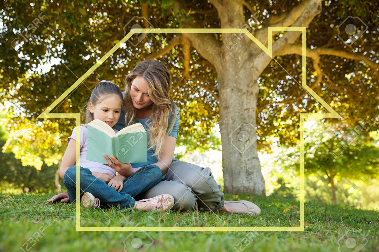 Mother and daughter reading a book at park against house outline Stock Photo - 42705311