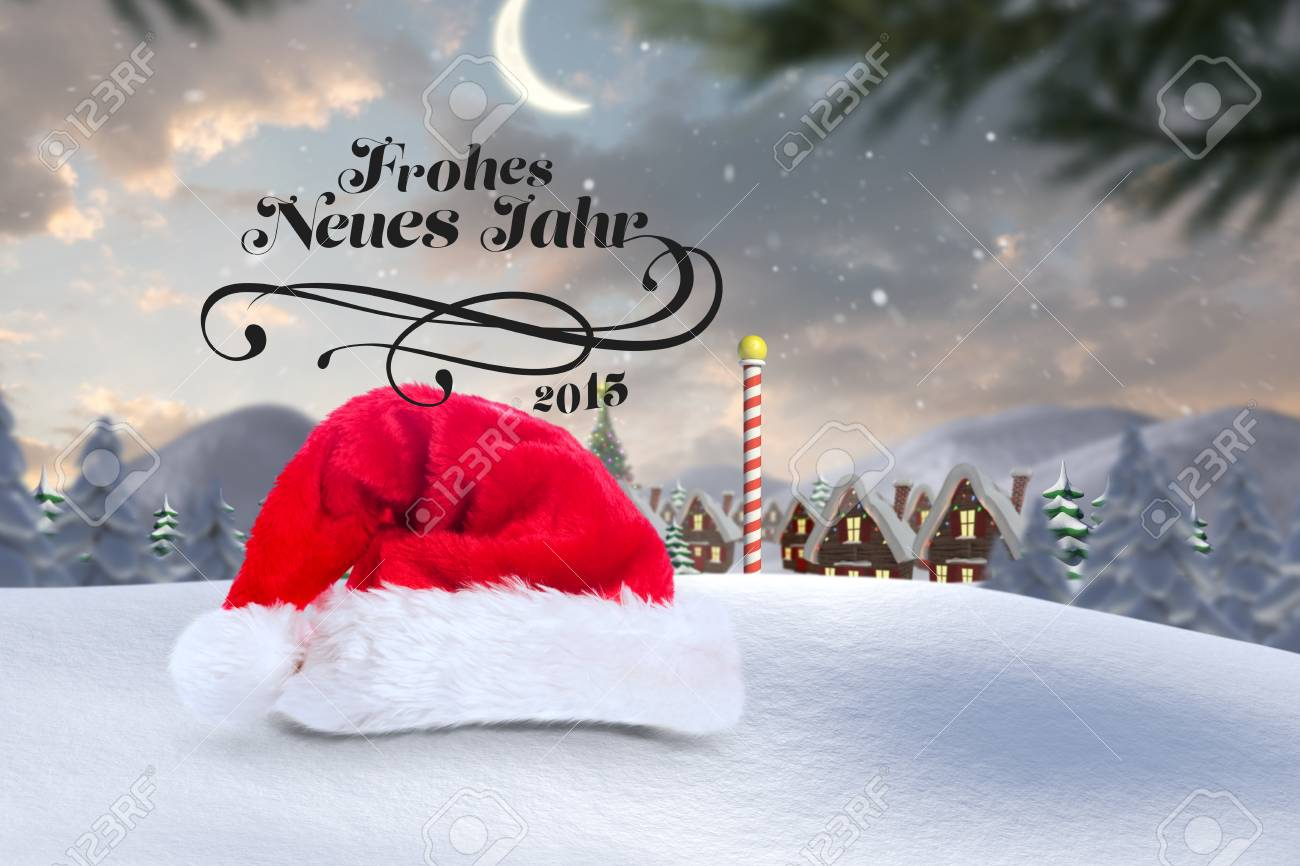 Frohes Neues Jahr Against Cute Christmas Village At North Pole Stock ...