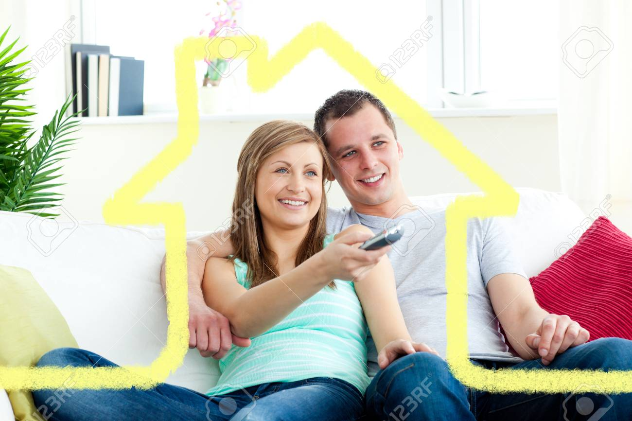 Charismatic Man Embracing His Girlfriend While Watching Tv Against