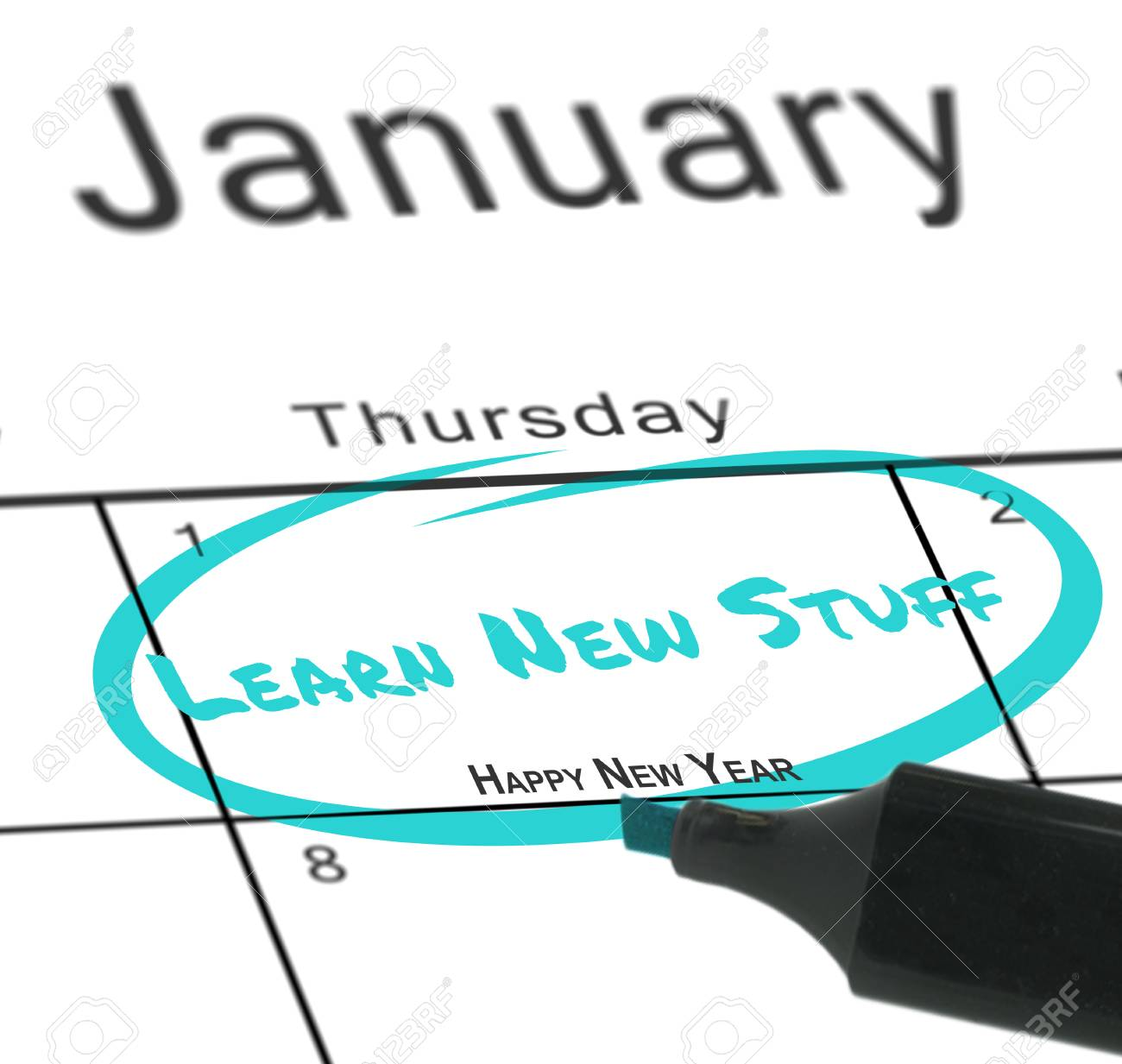 happy new year against january calendar stock photo 42776576