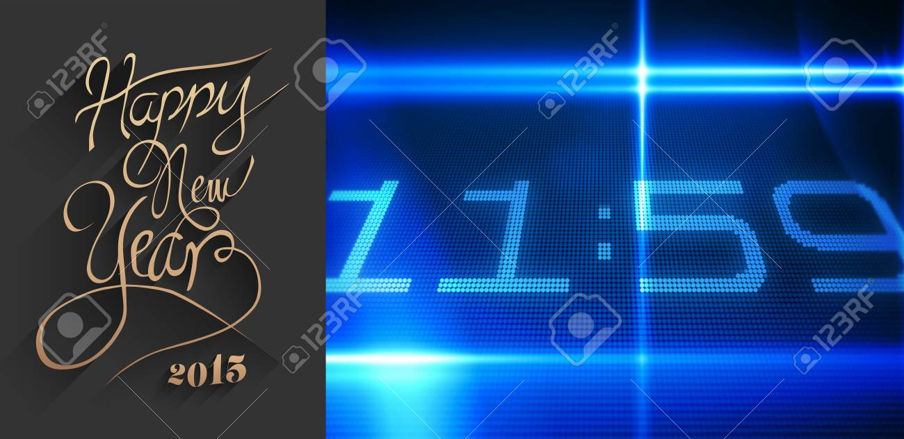classy new year greeting against 1159 on tech background stock photo 42970390