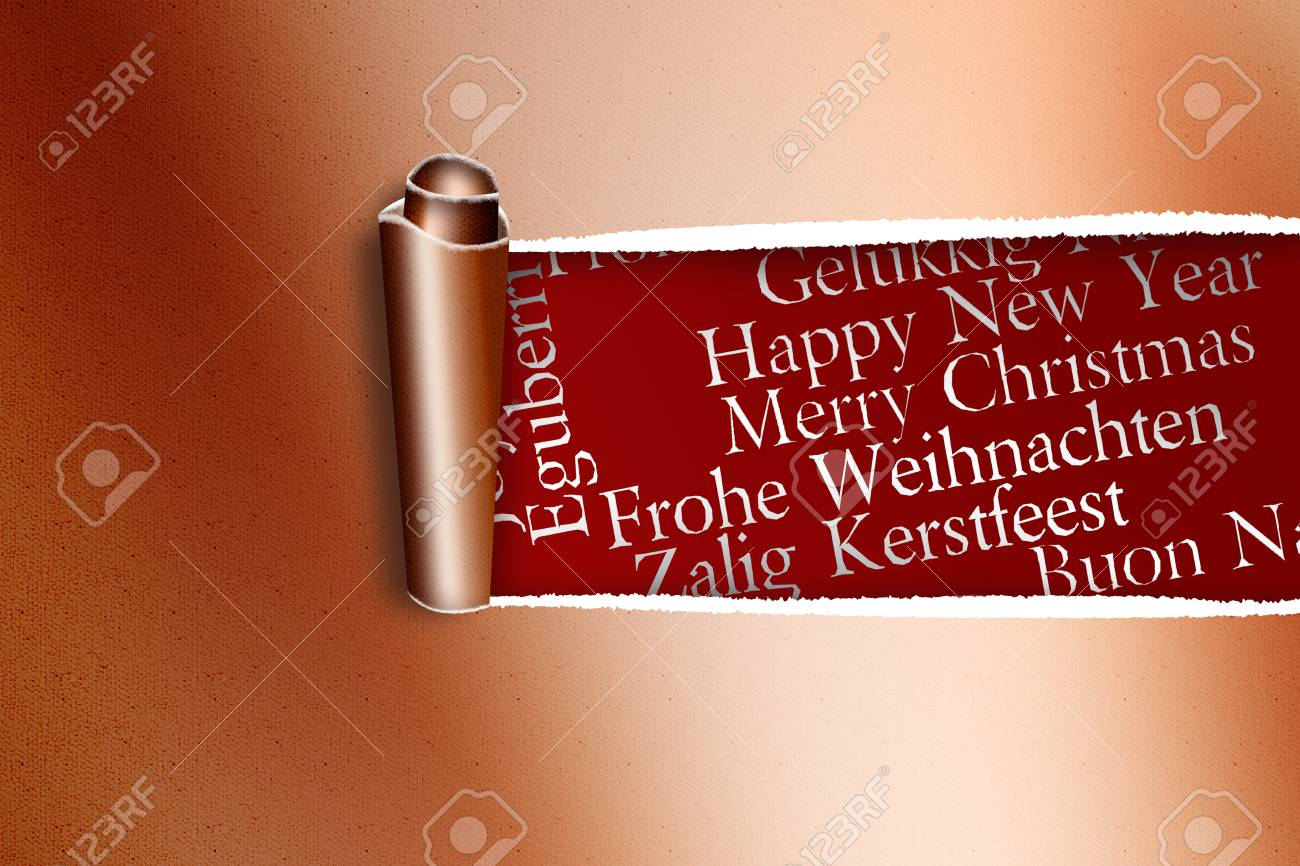 Rip in gold paper against holiday greetings in different languages rip in gold paper against holiday greetings in different languages stock photo 42970455 m4hsunfo