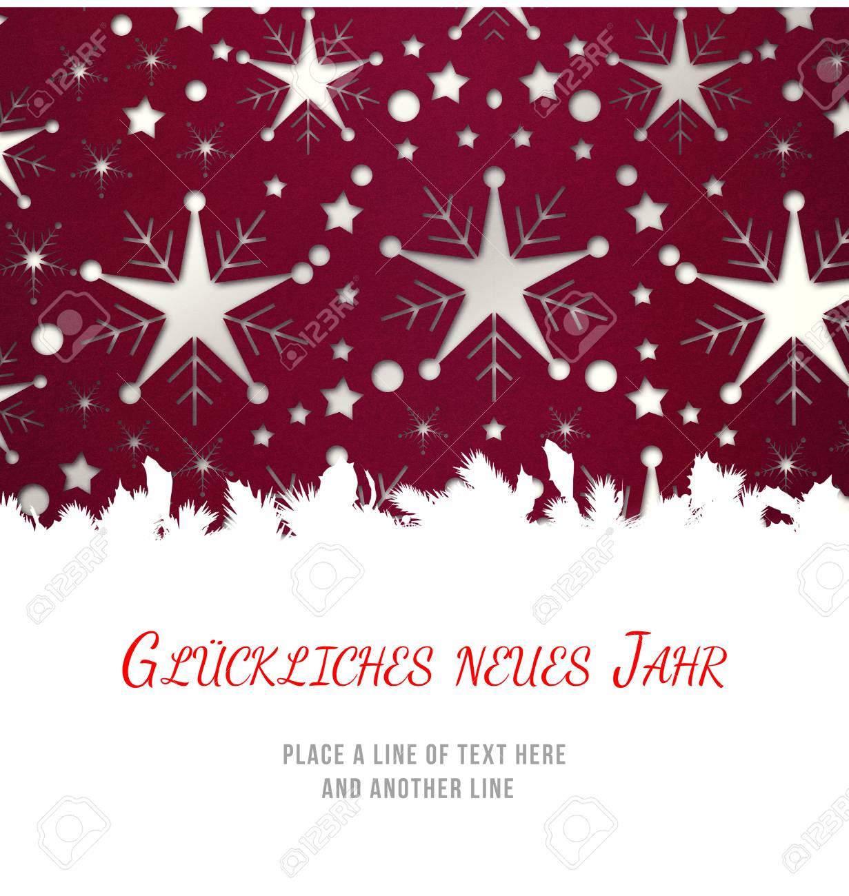 Christmas Greeting In German Against Snowflake Wallpaper Pattern