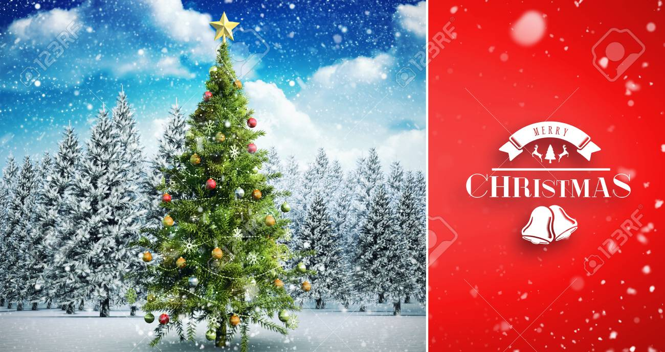 Snow falling against christmas tree in snowy landscape - 42971264