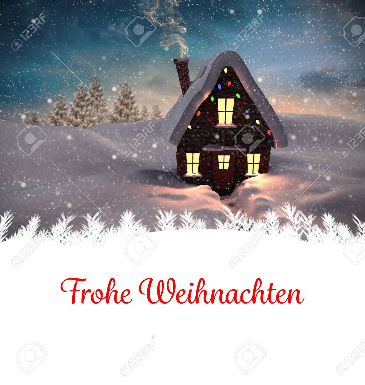Christmas Greeting In German Against Christmas House Stock Photo