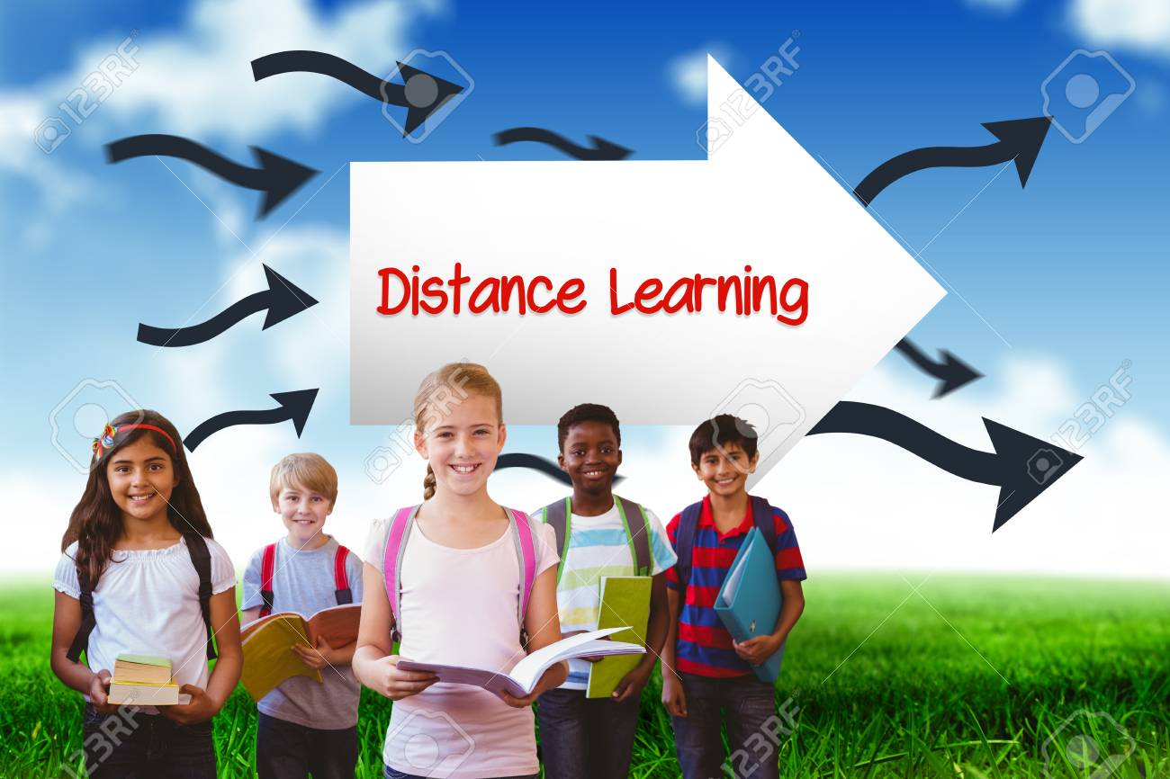 The Word Distance Learning And Smiling Little School Kids In Stock Photo Picture And Royalty Free Image Image 43972000