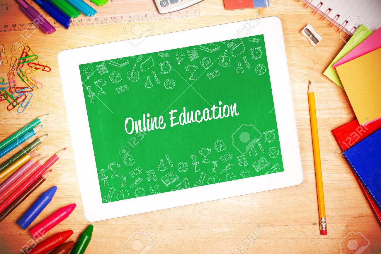 The Word Online Education And School Wallpaper Against Students Stock Photo Picture And Royalty Free Image Image 43913003
