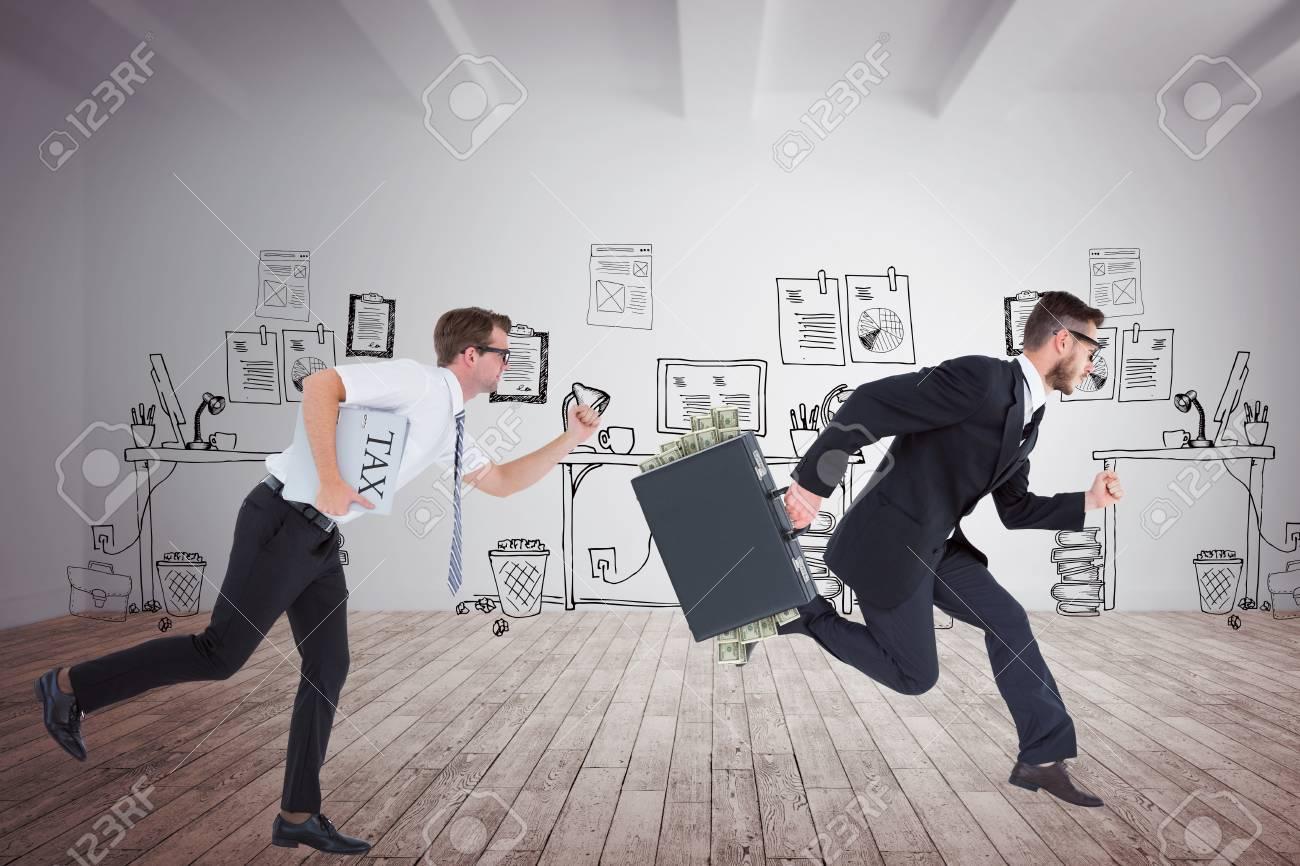 Homme d affaires en cours d exécution contre le bureau de doodle
