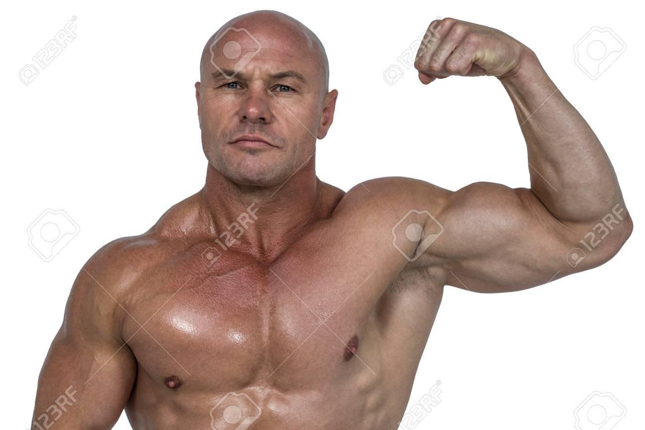 Banque d images - Portrait d homme musclé flexion biceps sur fond blanc 7b52fb27c8e