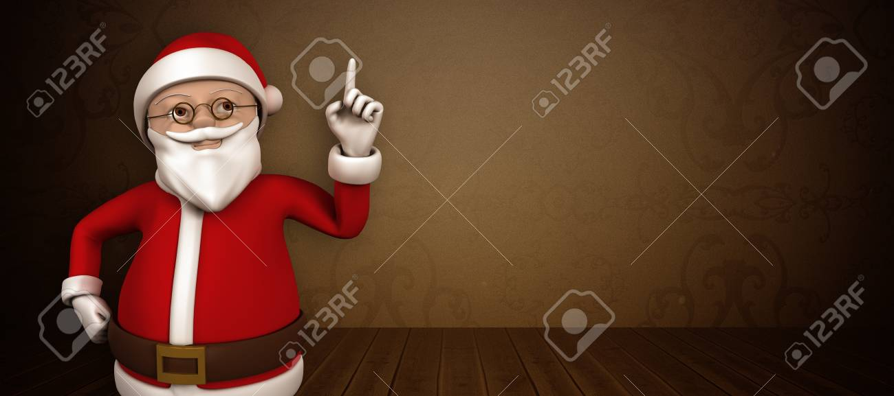 Cartoon Santa Pointing Against Room With Grey Wallpaper Stock Photo 47395682