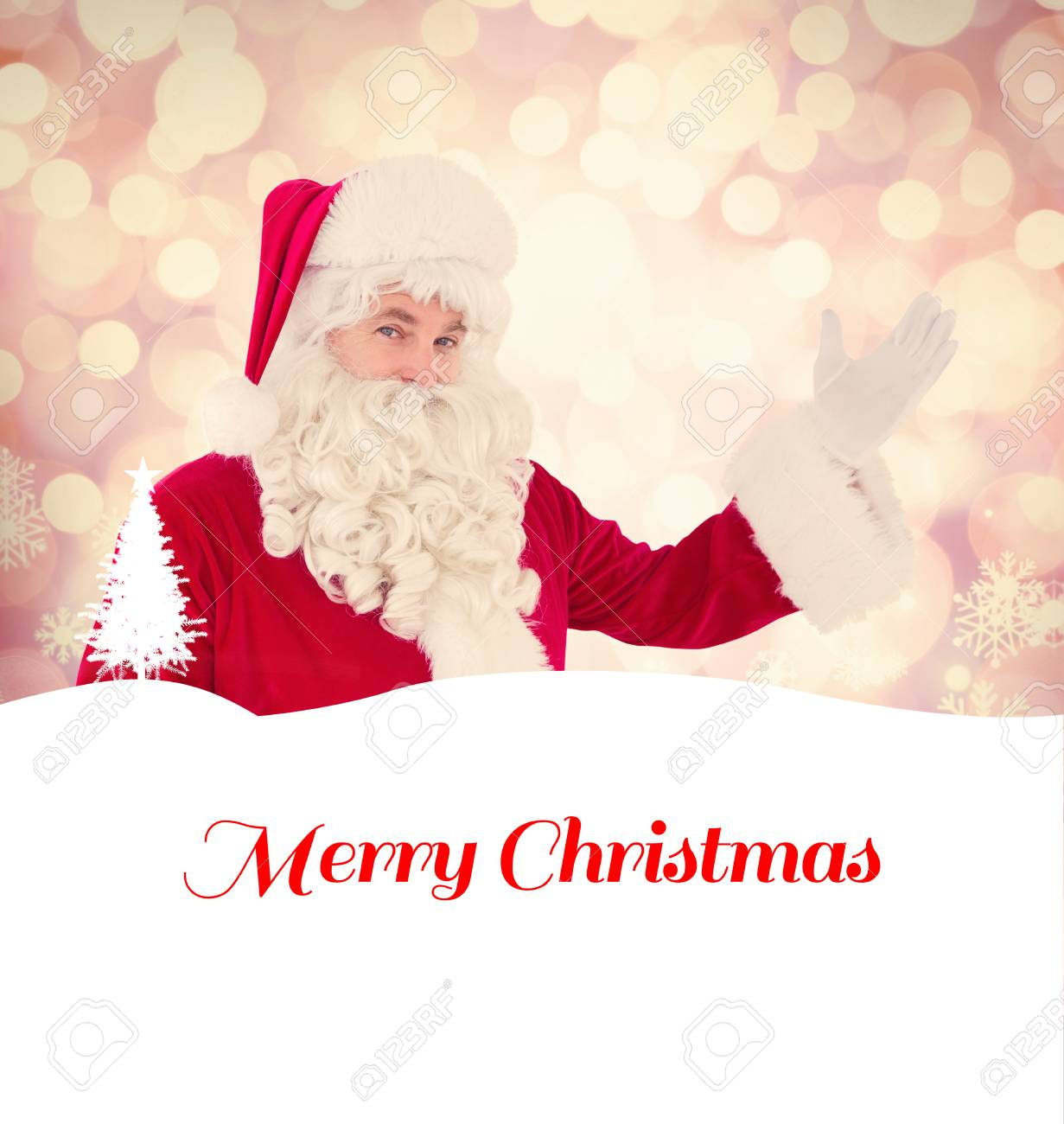Christmas Background Images Portrait.Portrait Of Santa Claus Showing Against Glowing Christmas Background