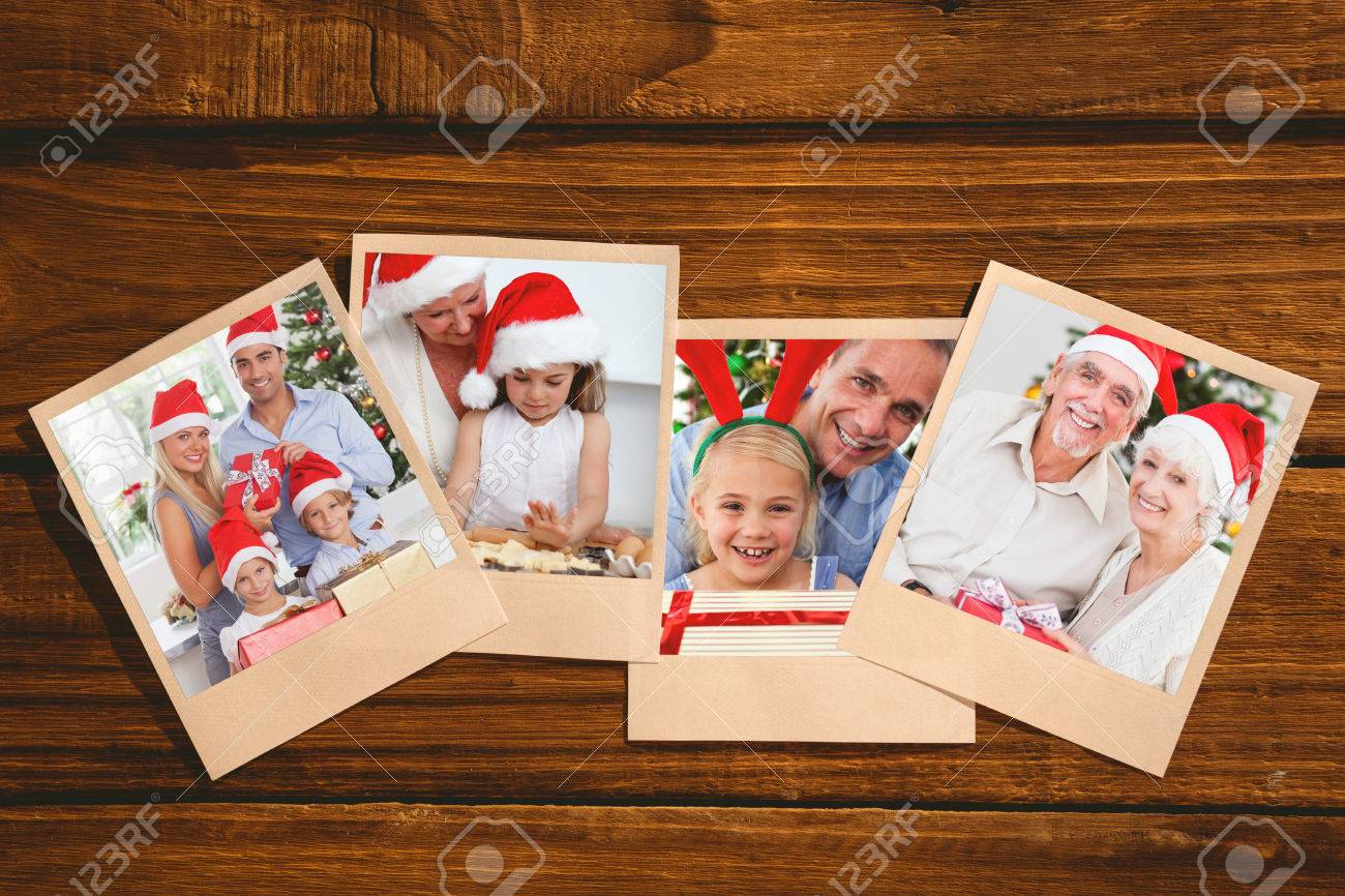 Smiling Old Couple Swapping Christmas Gifts Against Instant Photos ...