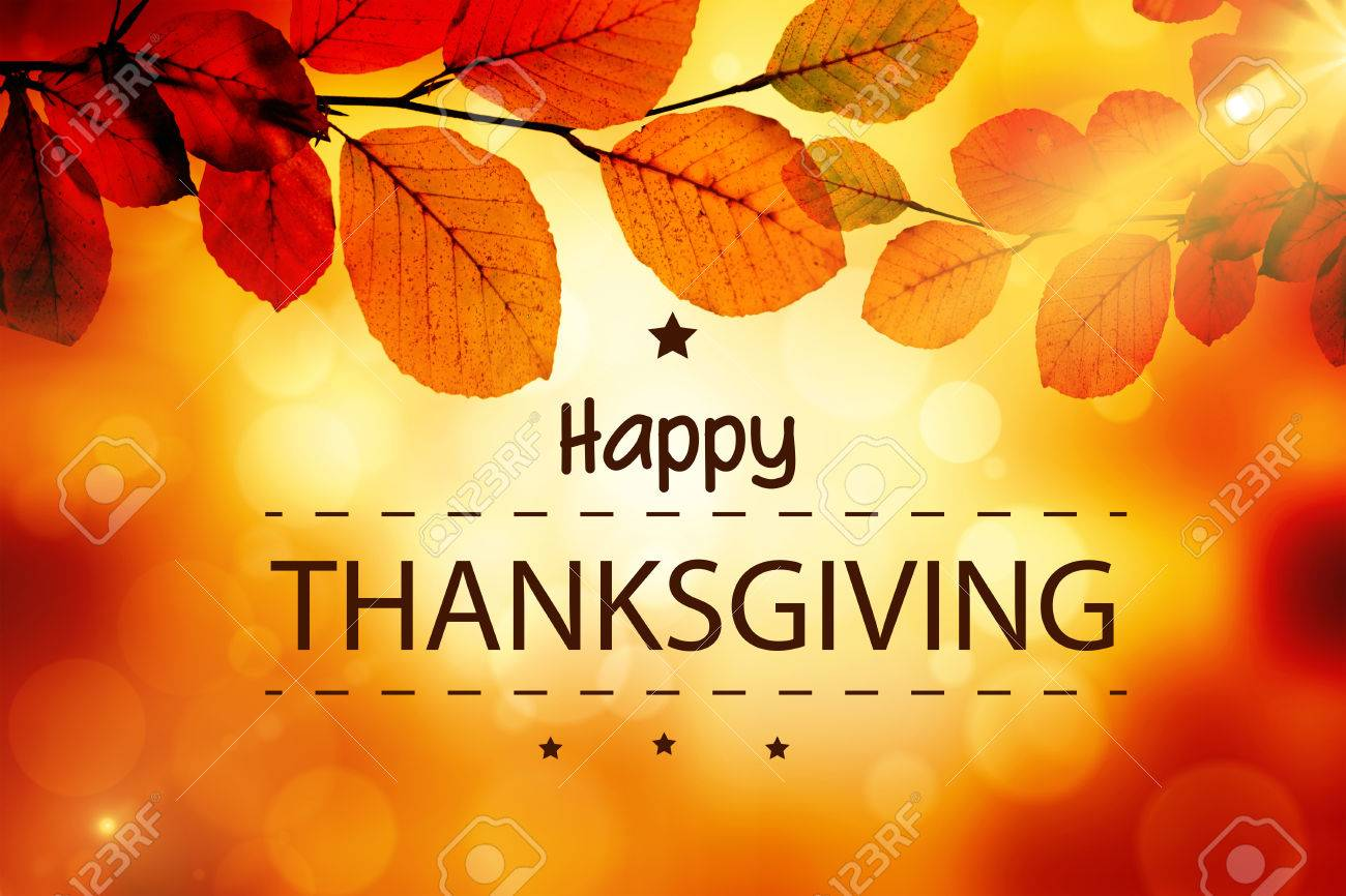 Happy thanksgiving against golden leaves Stock Photo - 47543295