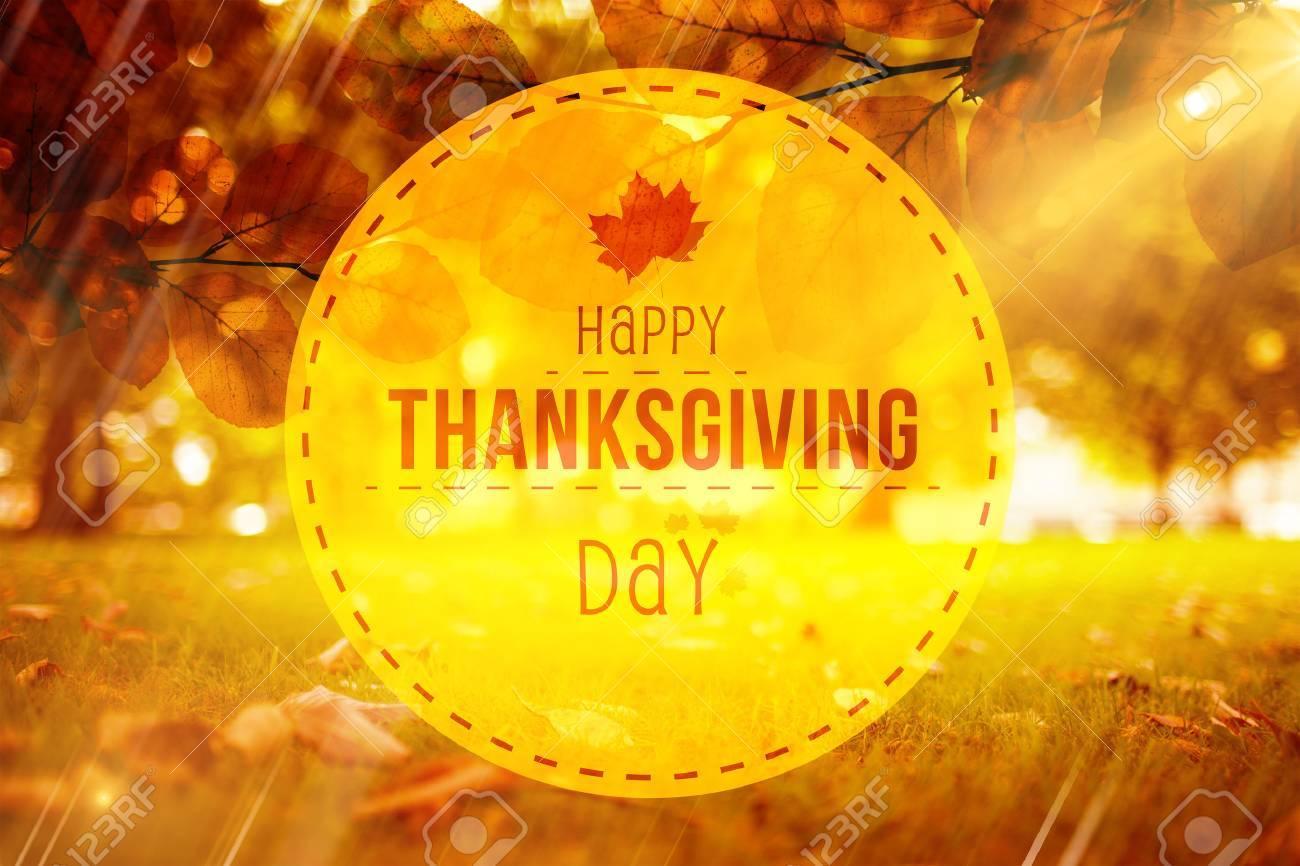 Happy thanksgiving against autumn scene Stock Photo - 47543314