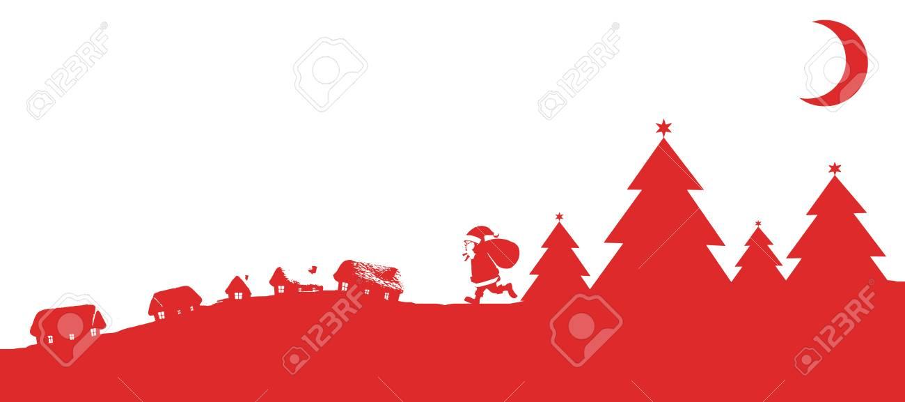 Weihnachts-Szene Silhouette Vor Weißem Hintergrund Mit Vignette ...