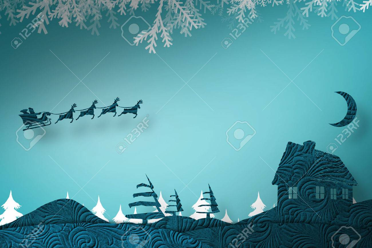 Christmas scene silhouette against fir tree forest silhouette over blue Stock Photo - 48079523