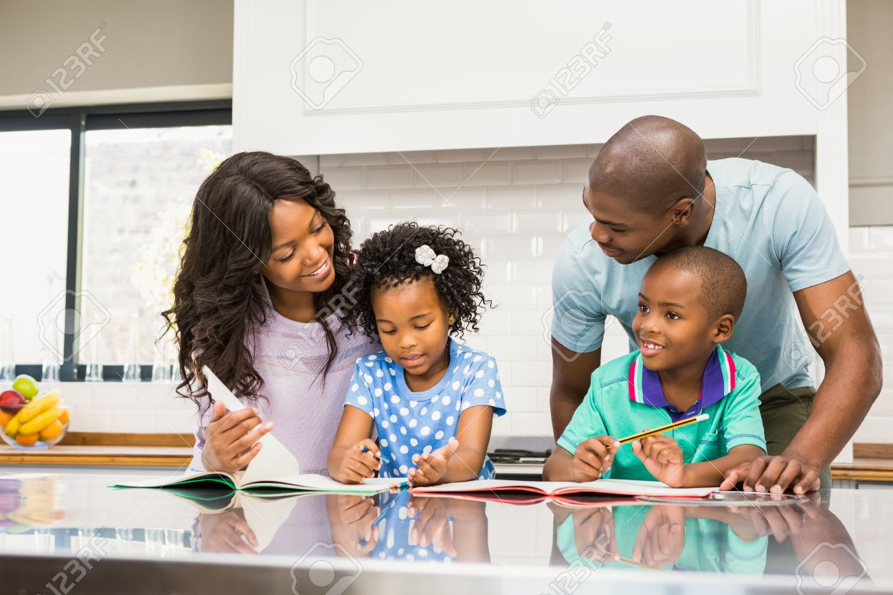 children happy helping home homework kitchen parents