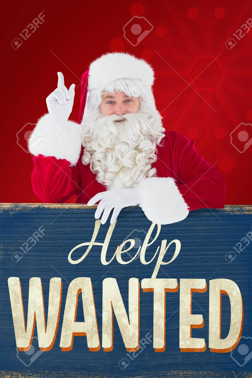 Christmas Help Wanted.Smiling Santa Claus Doing A Gesture Against Vintage Help Wanted