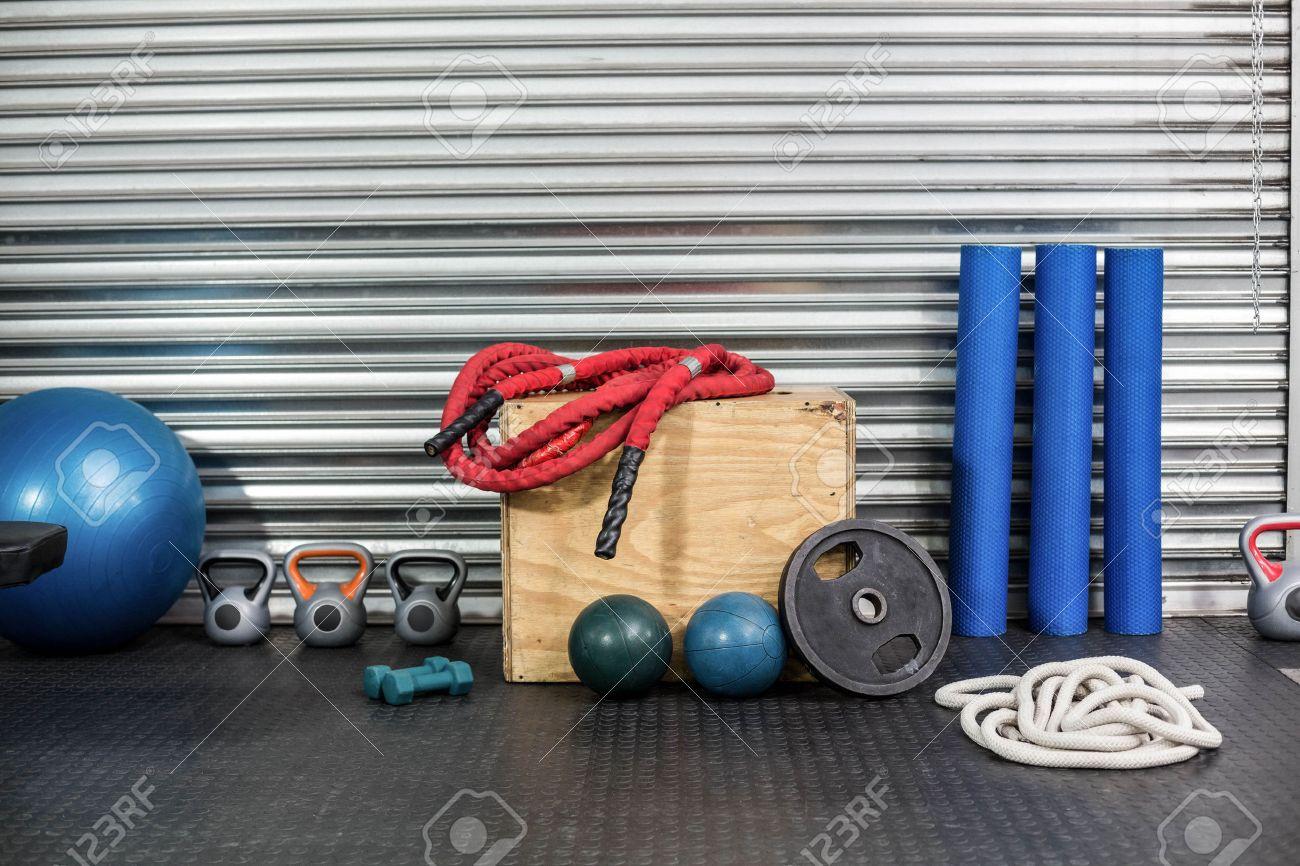 View of fitness equipment at crossfit gym Stock Photo - 52142036