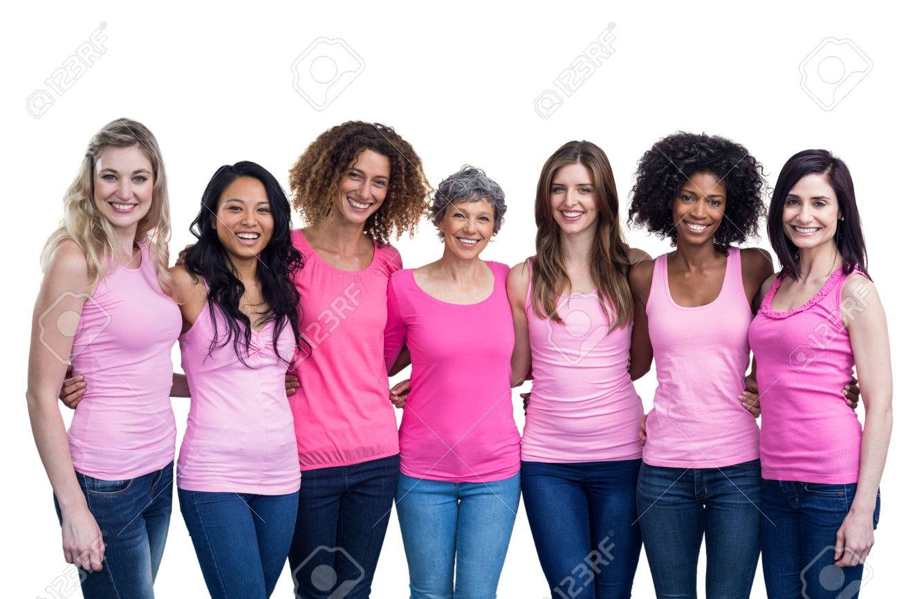 Happy multiethnic women standing together with arm around on white background Stock Photo - 54924023