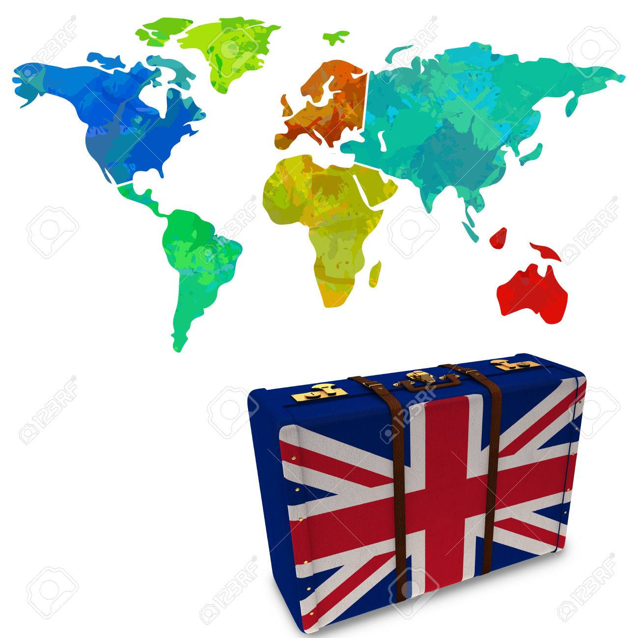 Colourful World Map Against Great Britain Flag Suitcase Stock Photo