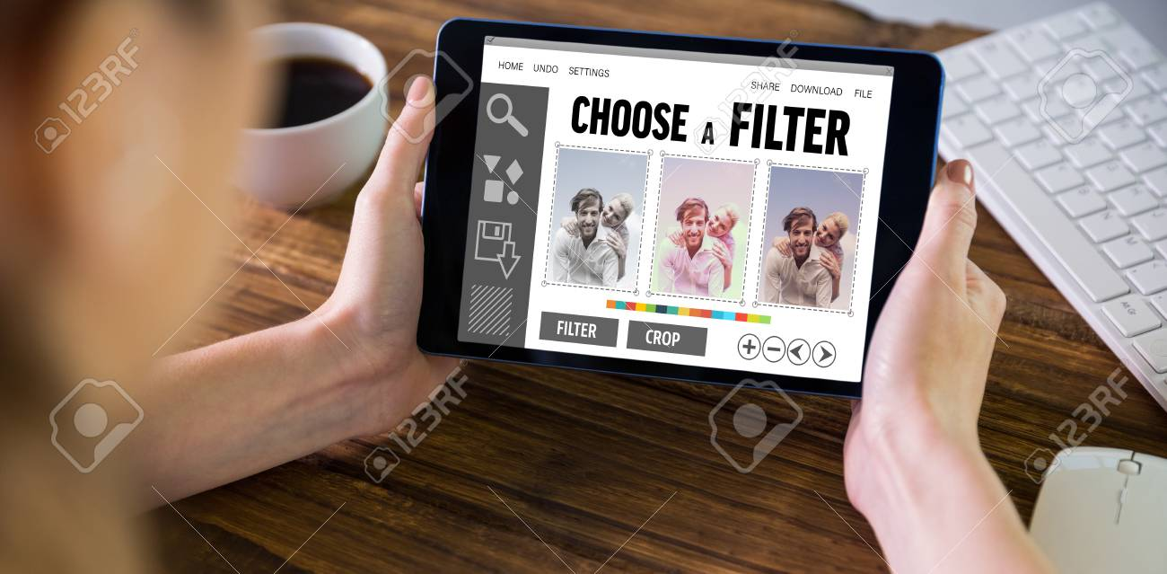 Woman using tablet pc against smartphone app menu