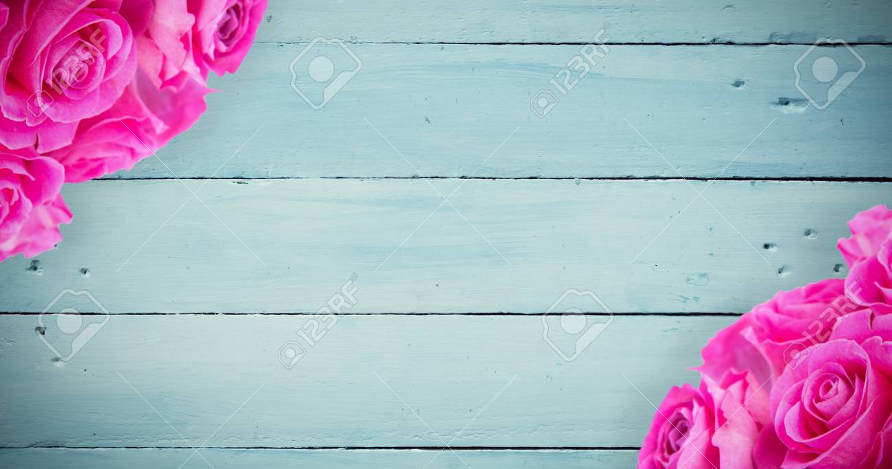 Pink Flowers Against Painted Blue Wooden Planks Stock Photo Picture