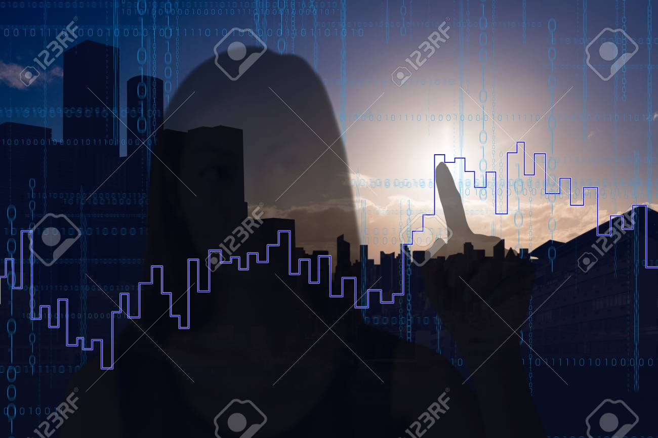 Businesswoman pointing against picture of city by sunrise