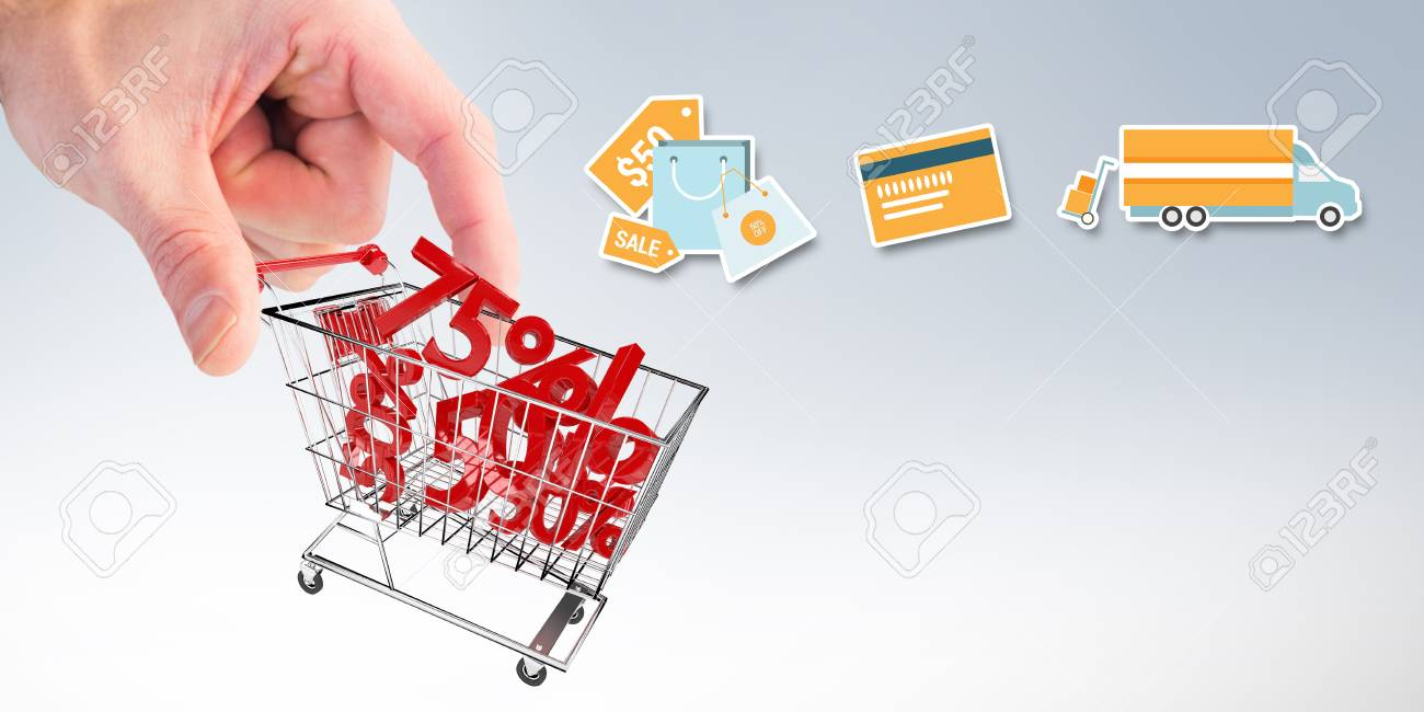Digital Shopping Diagram On A White Background Against Composite Cart Image Of Businessman Measuring Something With These