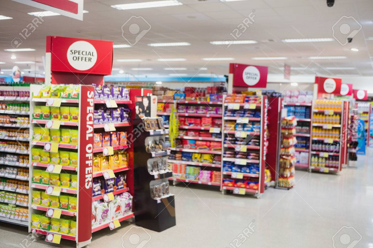 Photograph of shelves with promotions in a supermarket Standard-Bild - 57117043