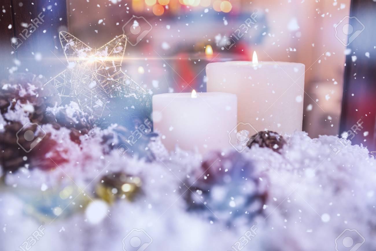 Christmas Decorations On Fake Snow During Christmas Time