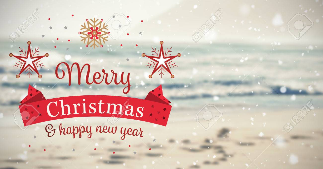 Christmas Card Against Scenic View Of Beach Stock Photo, Picture And ...