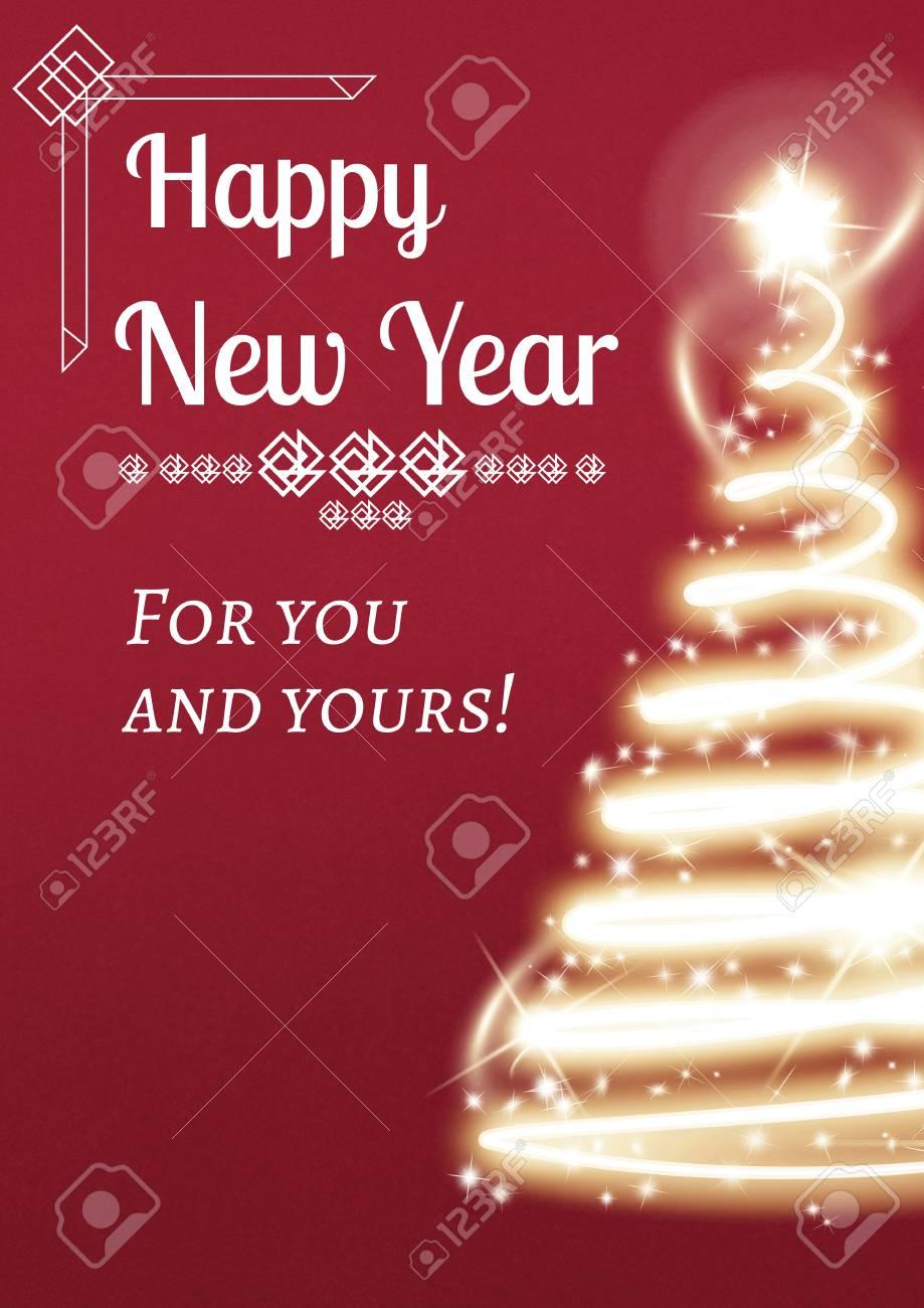 Compuesto Digital De Mensaje De Año Nuevo En El Diseño De Fondo De árbol De Navidad Ligero