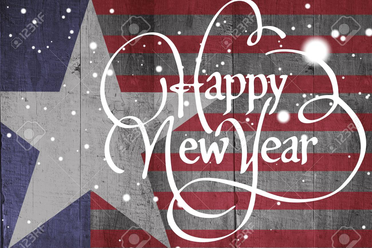 happy new year against composite image of usa national flag stock photo 65637060